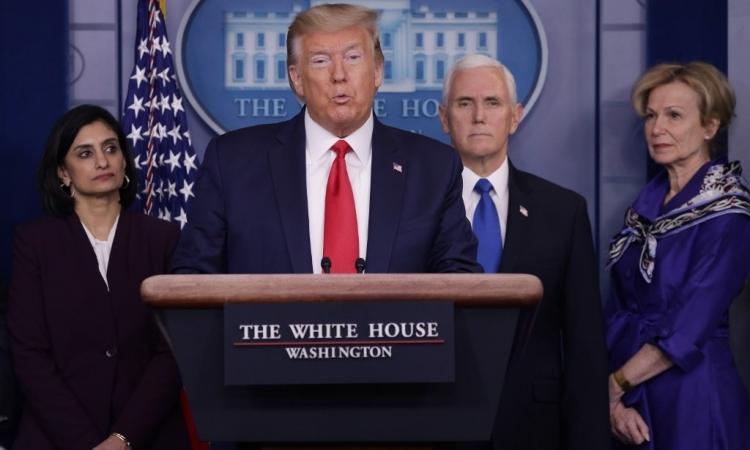 Tổng thống Mỹ Donald Trump tại buổi họp báoở Nhà Trắng hôm 18/3. Ảnh: AFP.