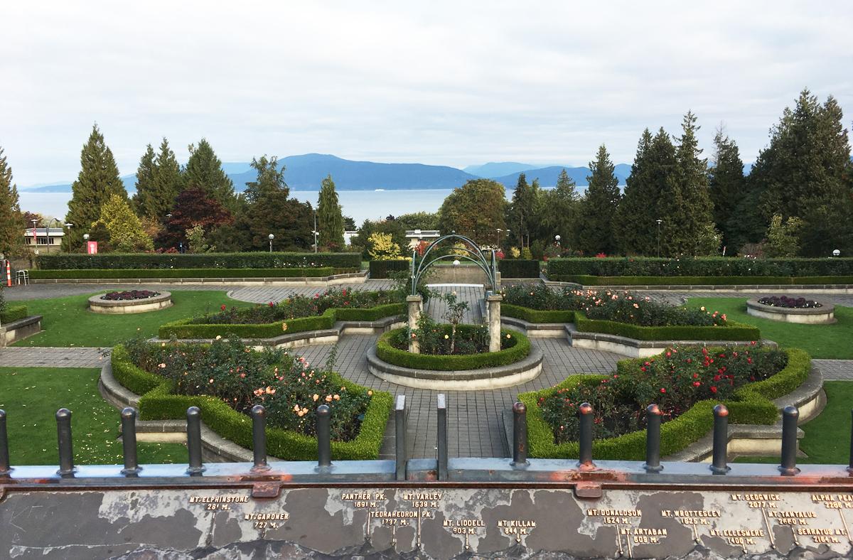 Vườn hồng, nơi có khung cảnh đẹp nhất ở Đại học British Columbia, Canada. Ảnh: Anh Thi.