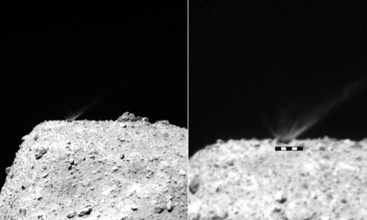 Đất đá văng lên khi tàu Hayabusa 2 bắn tiểu hành tinh Ryugu. Ảnh: Space.