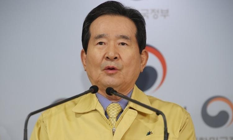 Thủ tướng Hàn Quốc Chung Sye-kyun phát biểu tại Seoul ngày 21/3. Ảnh: Yonhap.