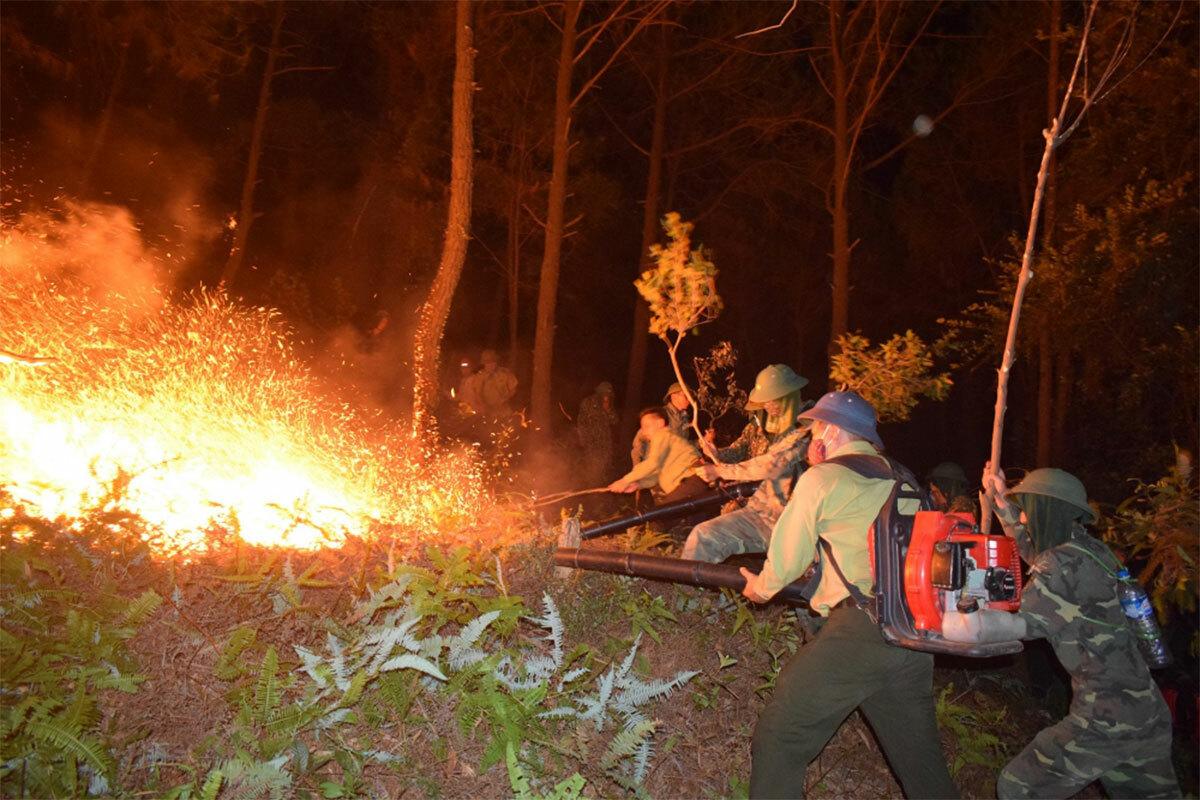 Một vụ cháy rừng ở huyện Nghi Xuân, Hà Tĩnh hồi tháng 6/2019 do người dân bất cẩn khi đốt rác. Ảnh: Đức Hùng