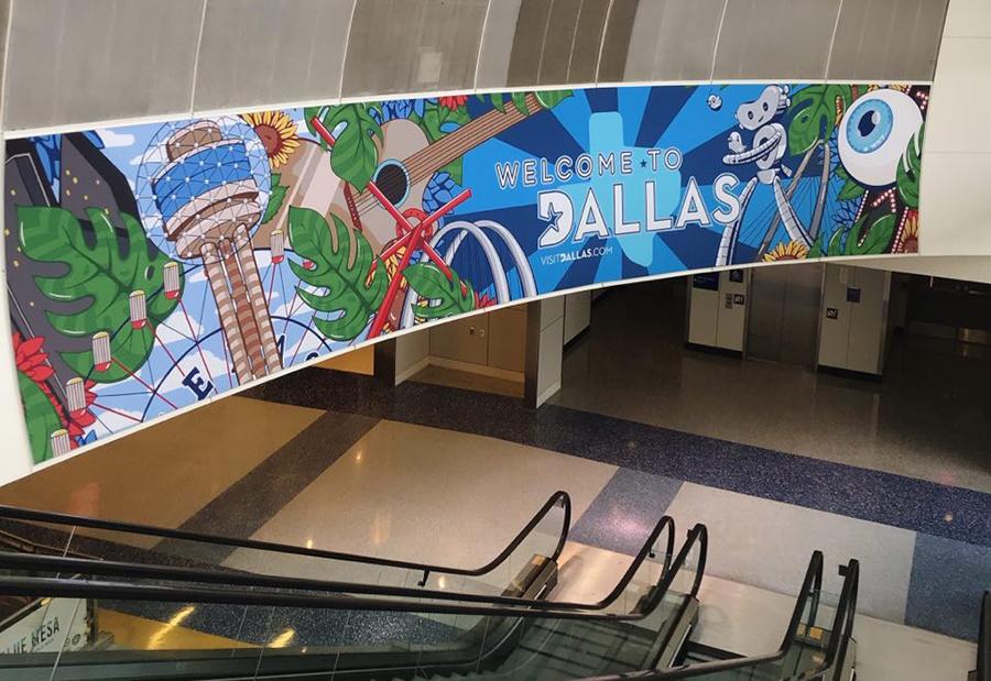 Góc sân bay quốc tế ở Dallas không bóng người. Ảnh: Nhân vật cung cấp.