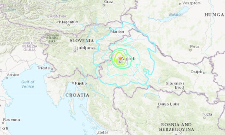 Vị trí xảy ra động đất ngày 22/3 ở Croatia. Đồ hoạ: AccuWeather.