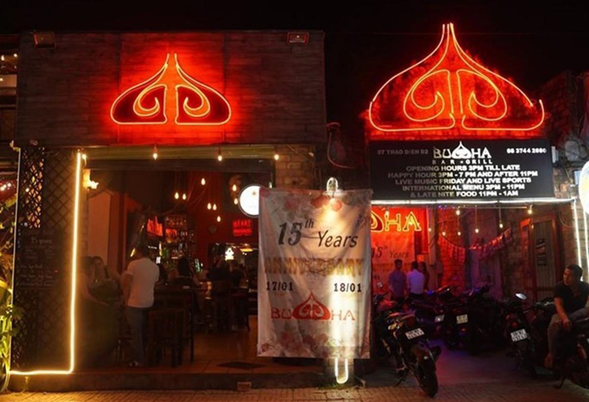 Bar Buddha trên đường Thảo Điền, quận 2, trước khi bị đóng cửa ngày 15/3. Ảnh:Buddha.