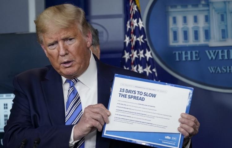 Tổng thống Mỹ Donald Trump tại cuộc họp báo ở Nhà Trắng hôm 23/3. AFP.