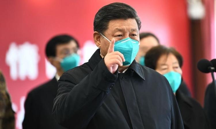 Chủ tịch Trung Quốc Tập Cận Bình thăm Vũ Hán ngày 10/3. Ảnh: Xinhua.