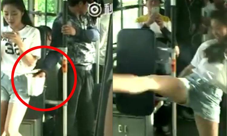 Người đẹp tung cước hạ gục tên móc túi trên xe buýt