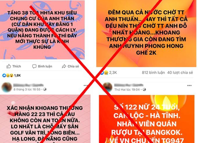 Các thông tin thất thiệt đượcFacebooker đưa lên mạng trong thời gian qua. Ảnh: Bộ Công an