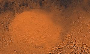 Hố trũng rộng hơn 2.200 km trên sao Hỏa