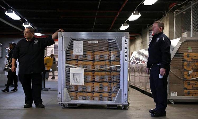 Máy thở tại Kho Quản lý Khẩn cấp ở thành phố New York, Mỹ chuẩn bị được vận chuyển ra ngoài để cung cấp cho các cơ sở y tế hôm 24/3. Ảnh: Reuters.