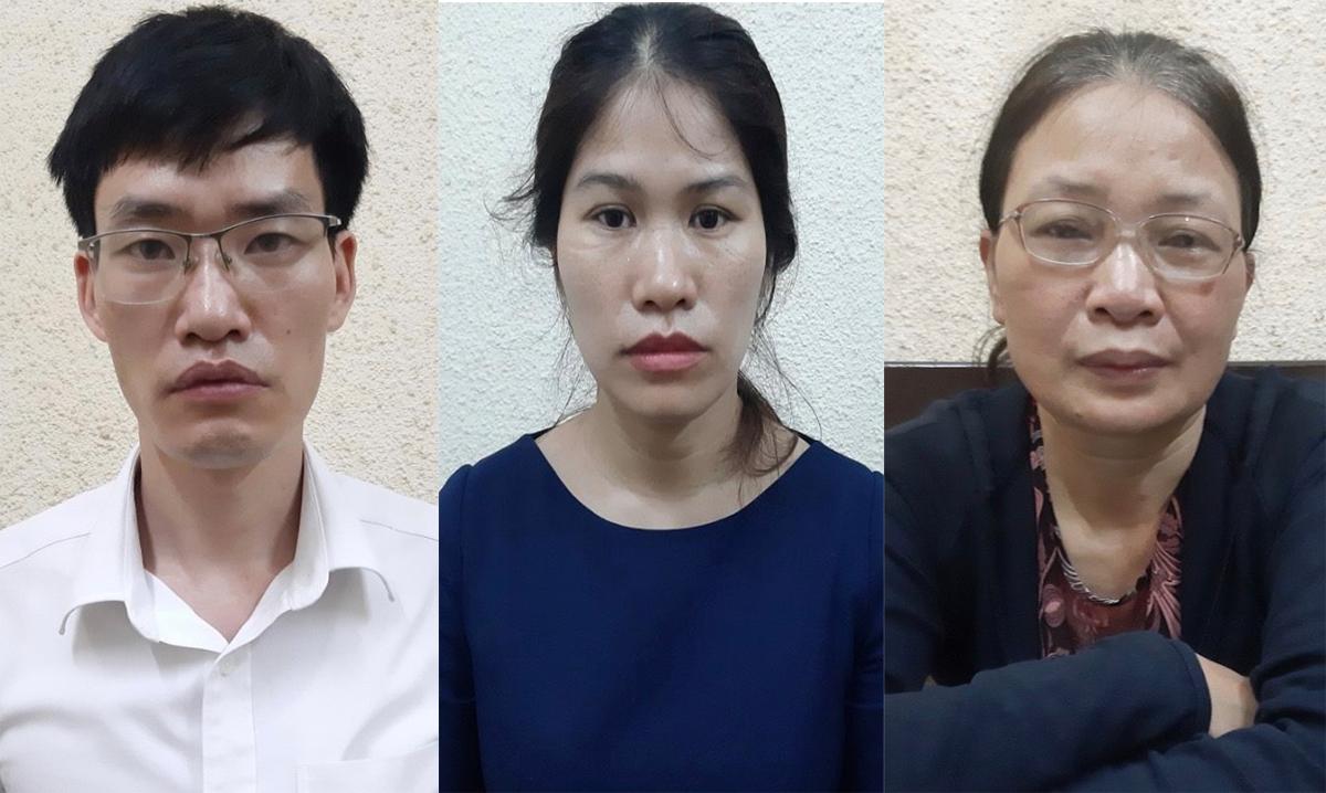 Huân, Thanh Hương và Khánh Hương (từ trái qua) tại cơ quan điều tra. Ảnh: Bộ Công an