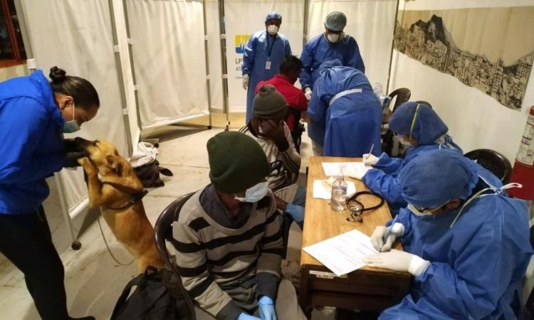 Người vô gia cư Ecuador khai báo y tế tại thủ đôQuito hôm 20/3. Ảnh: AFP.