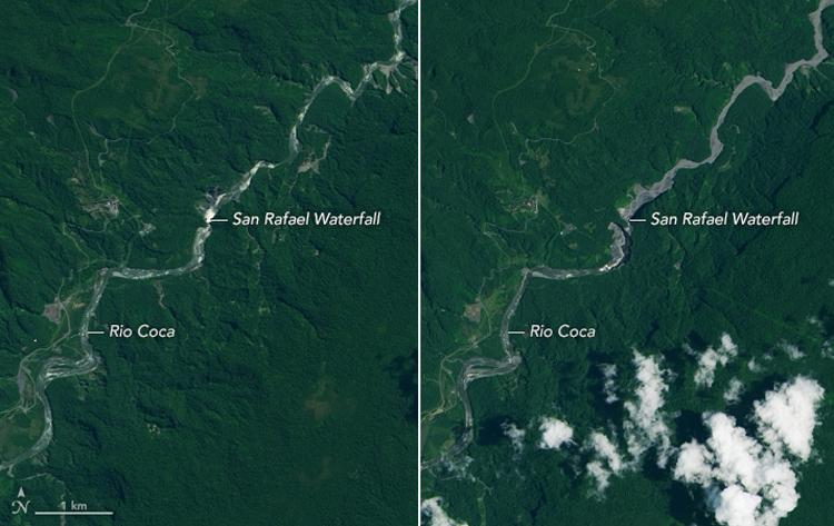 Vệ tinh chụp sông Coca và thác San Rafael ngày 4/8/2014 (trái) và ngày 15/3/2020 (phải). Ảnh: NASA Earth Observatory.
