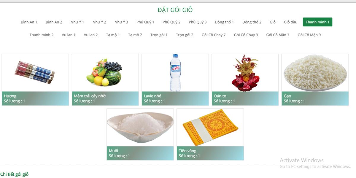 Các gói dịch vụ khách hàng có thể đặt online. Ảnh: Phương Linh