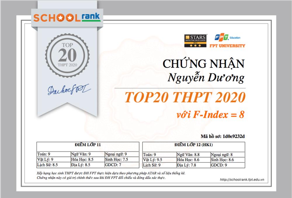 Những học sinh trong TOP 50 trở lên (50% học sinh có kết quả học tập tốt nhất) sẽ được gửi giấy chứng nhận như ảnh về mail. Ảnh: Đại học FPT.