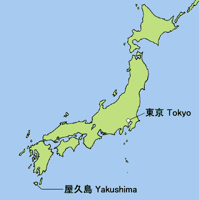 Vị trí đảo Yakushima ở phía nam Nhật Bản. Đồ họa: Asahi.