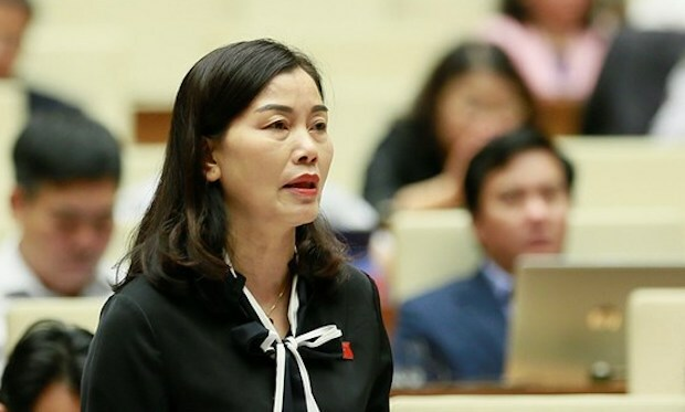 Bà Nguyễn Thị Xuân phát biểu tại nghị trường. Ảnh: Trung tâm báo chí Quốc hội