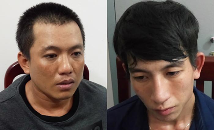 Triệu (trái) và Huy tại cơ quan công an. Ảnh: Quang Bình.