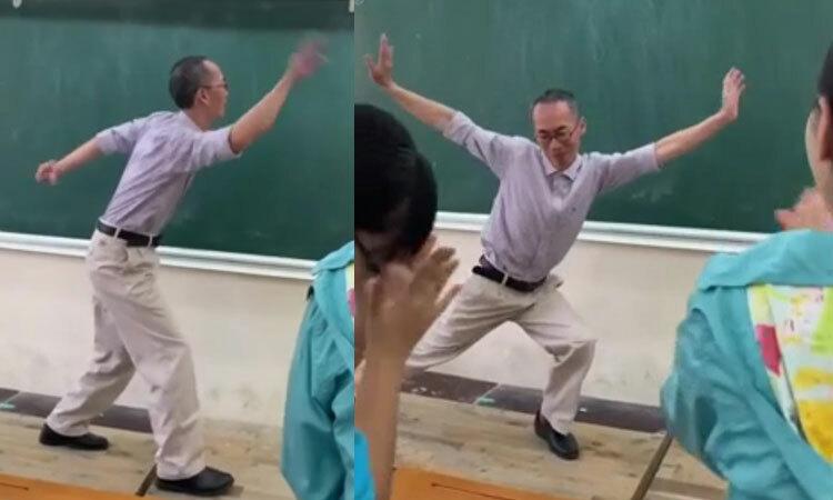 Thầy giáo múa phụ họa cho học sinh hát