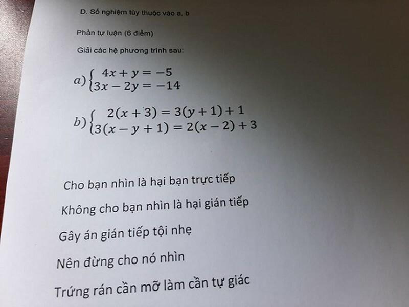 Những câu cảnh cáo của giáo viên ngay dưới đề bài.