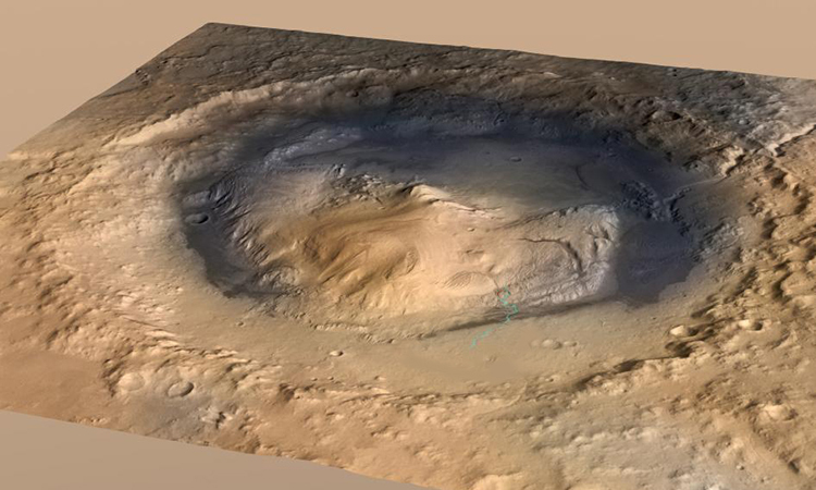 Miệng núi lửa Gale trên sao Hỏa. Ảnh: NASA.