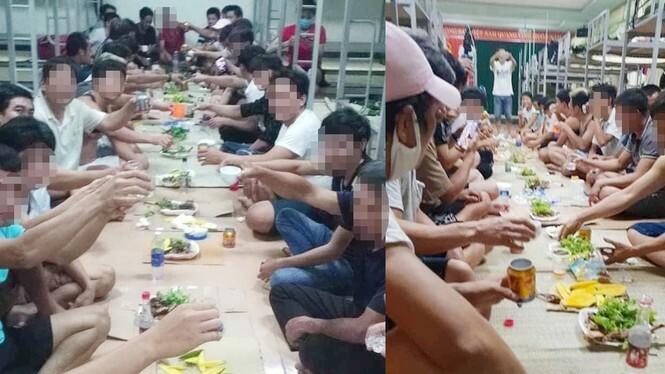 Bốn người bị phạt 200 nghìn đồng mỗi người do tổ chức ăn nhậu trong khu cách ly. Ảnh: HN