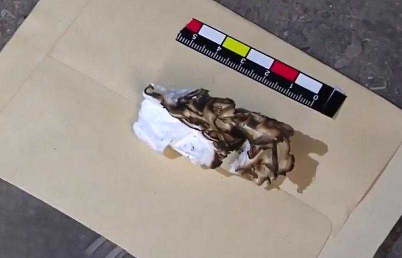 Cuộn giấy vệ sinh cháy dở. Ảnh: CCTV.