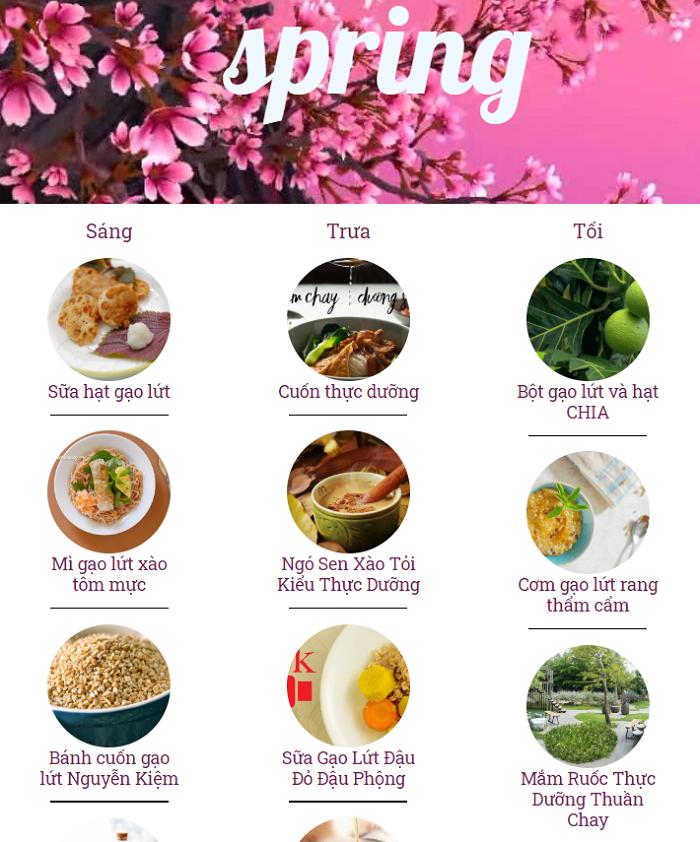 Các món ăn thực dưỡng vào mùa xuân trênWebsite của Tuệ Nhi.Ảnh chụp màn hhìn