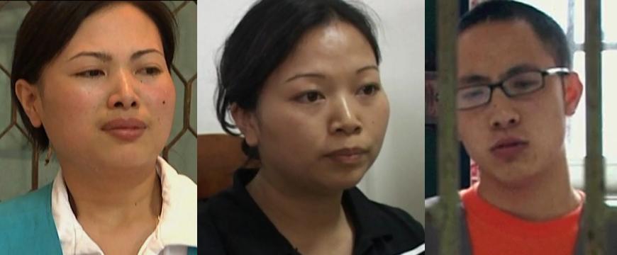 Ngô Mẫn (trái), Ngô Hồng Diễm (giữa), và Cố Hoài Hổ. Ảnh: CCTV.