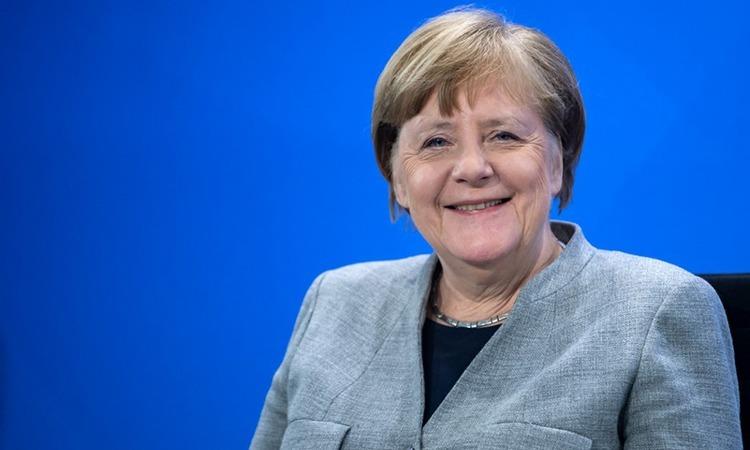Thủ tướng Đức Angela Merkel tại cuộc họp báo ở Berlin, ngày 15/4. Ảnh: AFP.
