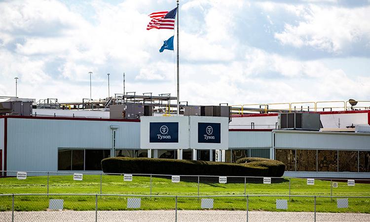 Nhà máy chế biến thịt lợn củaTyson ở thành phố Columbus Junction, bang Iowa, ngày 14/4, sau khi bị đóng cửa vì Covid-19 hồi đầu tháng. Ảnh:Iowa City Press-Citizen.