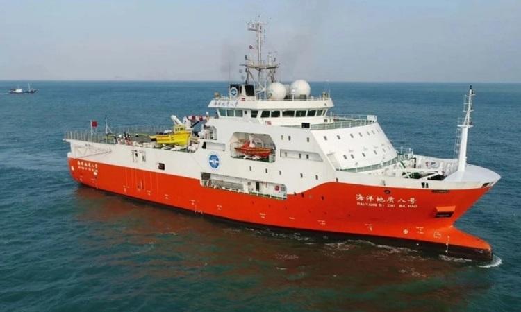 Tàu Địa chất Hải dương 8 hoạt động gần bờ biển Trung Quốc hồi năm 2018. Ảnh: Schottel.