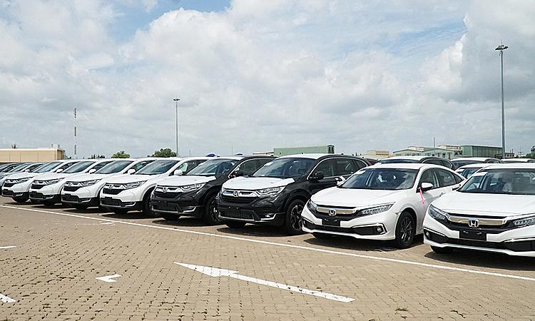 Một lô hàng xe Honda nhập khẩu về TP HCM, tháng 10/2019. Ảnh: Đinh Tuấn