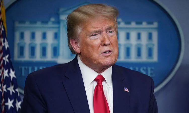 Tổng thống Mỹ Donald Trump phát biểu trong cuộc họp báo tại Nhà Trắng ngày 20/4. Ảnh: AFP.