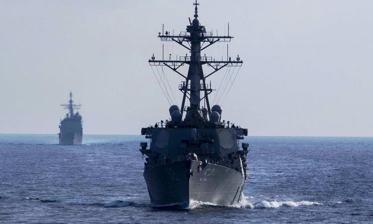 USS Barry diễn tập trên Biển Đông hôm 18/4. Ảnh: US Navy.