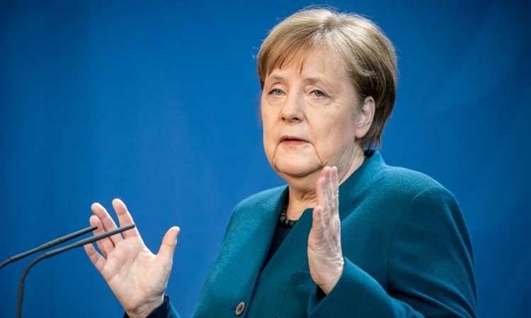 Thủ tướng Đức Angela Merkel phát biểu về Covid-19 tại Berlin hôm 22/3. Ảnh: Reuters.