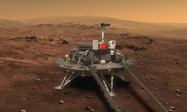 Minh họa trạm đổ bộ của Trung Quốc trên bề mặt sao Hỏa. Ảnh: CNN.