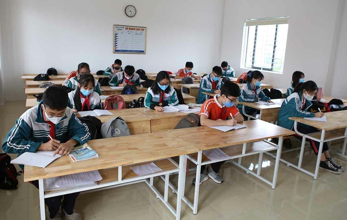 Một lớp học tại trường THPT Quốc học Huế. Ảnh: Võ Thạnh