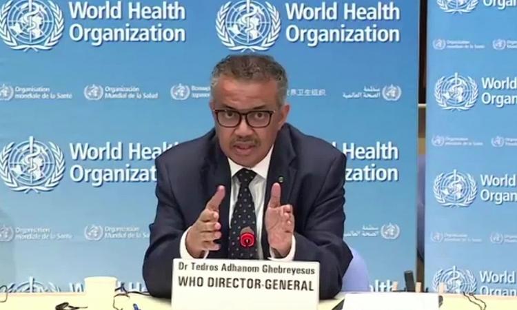 Tổng giám đốc Tổ chức Y tế Thế giới (WHO) Tedros Adhanom Ghebreyesus trong cuộc họp báo tại Geneva hôm 27/4. Ảnh: CNN.