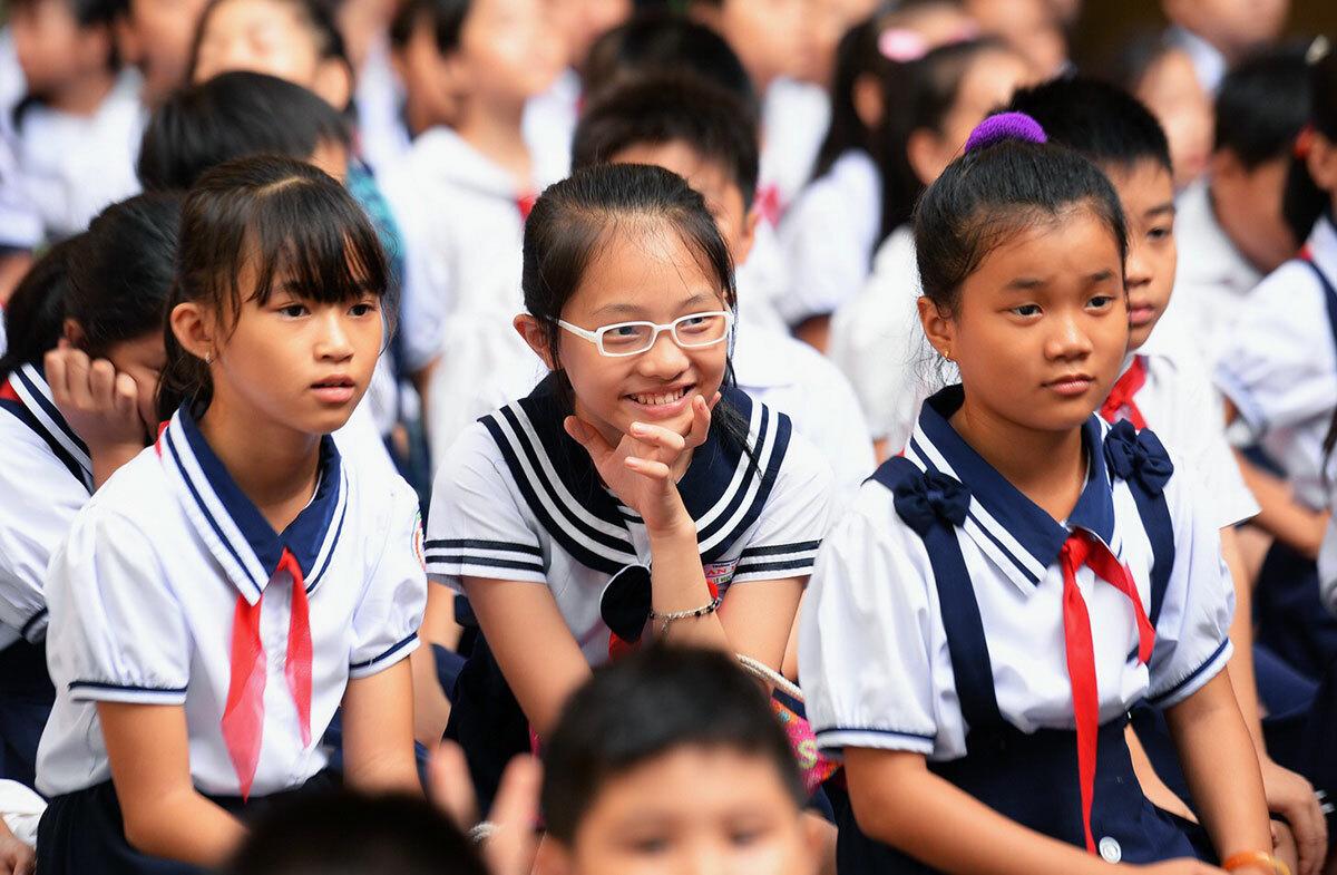 Học sinh trường Tiểu học Lê Văn Thọ (quận 12) trong lễ khai giảng năm 2019. Ảnh: Hữu Khoa.