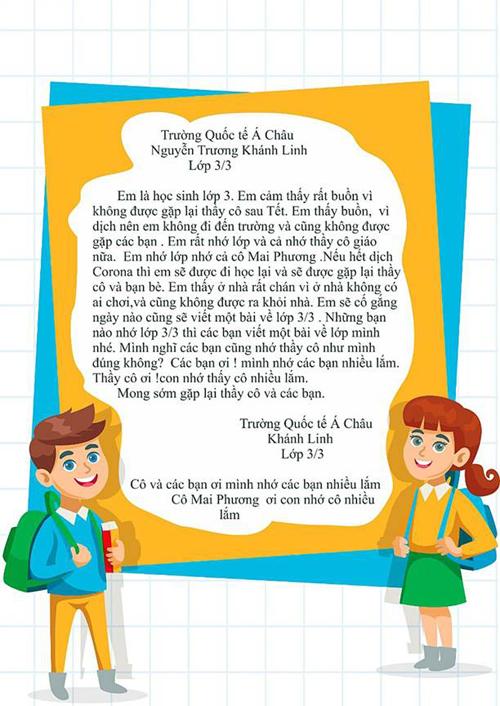Thư gửi cô giáo mùa dịch của học sinhAsian School.