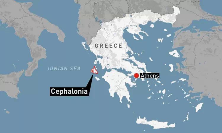 Vị trí đảo Cephalonia của Hy Lạp. Đồ họa: CBC News.