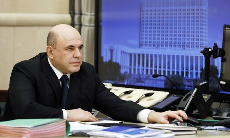 Thủ tướng NgaMikhail Mishustin họp từ xa với các quan chức chính phủ ở Moskva ngày 30/4. Ảnh: AFP.