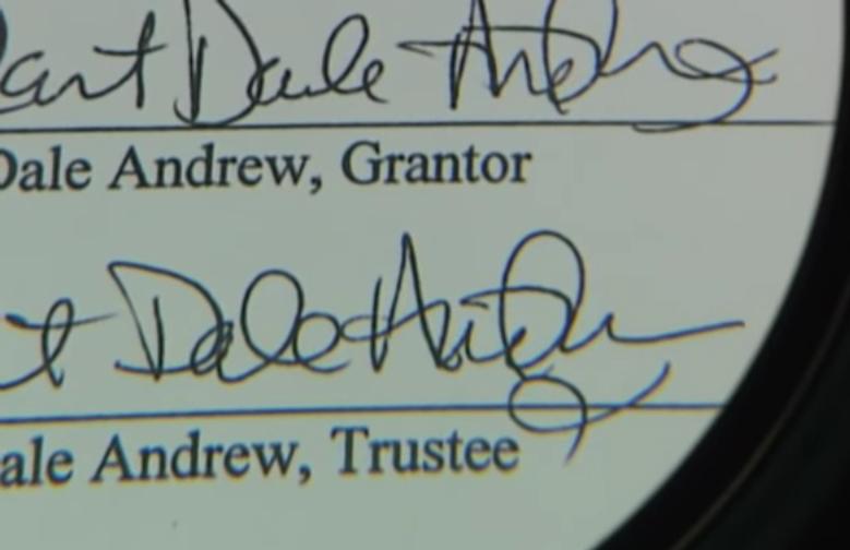 Chữ ký thật của Robert có hình trang trí như con cá ở gần cuối. Ảnh: Filmrise.