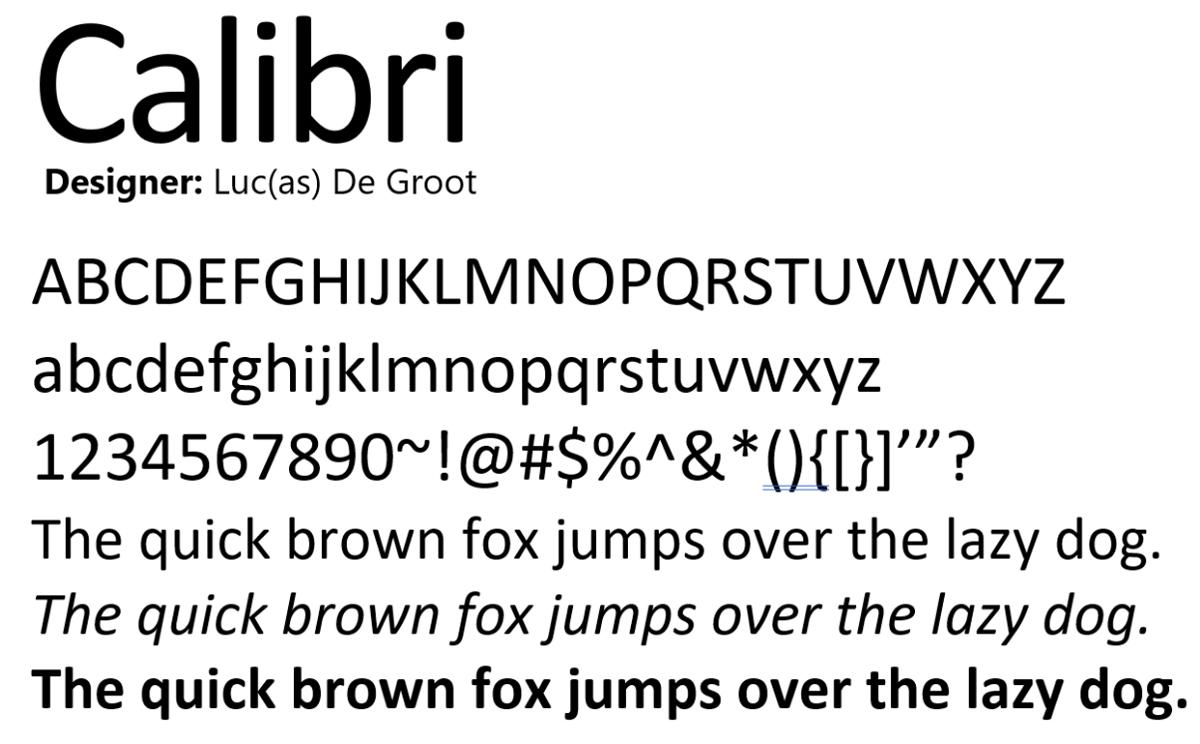 Là font mặc định trong phần mềm Microsoft Word từ năm 2007, Calibri đã giúp vạch mặt nhiều kẻ làm giả giấy tờ. Ảnh: Github.