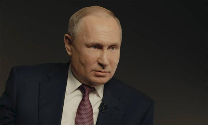 Tổng thống Nga Vladimir Putin trong buổi phỏng vấn với TASS ngày 18/3. Ảnh:TASS.