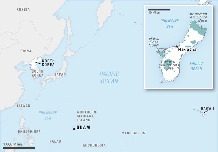 [Vị trí Guam và các căn cứ của Mỹ trên đảo. Đồ họa: NPR.