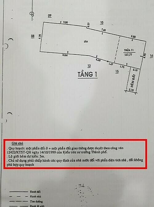 Ghi chú nho nhỏ về việc 1 phần đất quy hoạch giao thông mở đường,nhưng không thể hiện cụ thể là bao nhiêu m2.