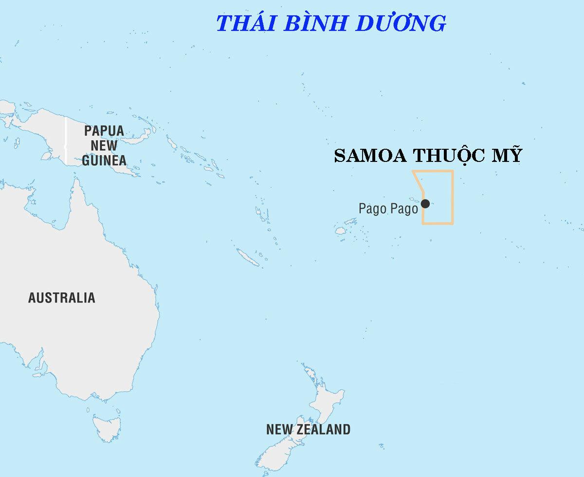 Vị trí quần đảo Samoa thuộc Mỹ. Đồ họa: Encyclopedia Britannica.