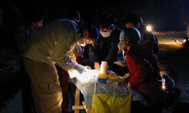 Bà Thạch và các đồng nghiệp chuẩn bị mẫu máu dơi để xét nghiệm tại tỉnh Quảng Tây, năm 2004. Ảnh:Shuyi Zhang.